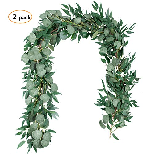 6.5 Feet Artificial Silver Dollar Eucalyptus Leaves Garland and 6 Feet Willow Vines Twigs Leaves Garland String for Doorways Greenery Garland Table Runner Garland Indoor Outdoor. (1 Gray Eucalyptus an -