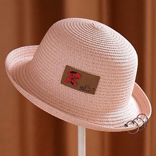 (Unisex Roll Along The Bowler Hat Three Ring Sunshade Hat Outdoor Men and Women Shrimp Powder)