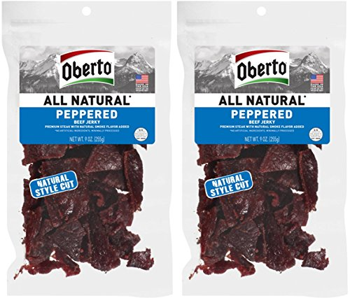 (Oberto All-Natural Peppered Beef Jerky, 9 Ounce (Pack of 2))