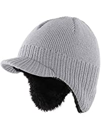 Home Prefer Toddler Boys Daily Beanie Hat Warm Knitted Kids Hat with Earflaps Winter Hat Light Gray M