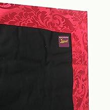 Yogavni Yoga, Meditation Zabuton, Natural Cotton Filled, Black with Red Jacquard Border