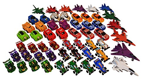 60 toy Cars, Trucks, Pickup Trucks, Monster Trucks, Fire Engine, Airplanes and all other kinds of Kids Playing Vehicles Toy Cars Assortment, great for School Classroom Fun and Party Favor Giveaways. (Fire Monster Truck)