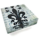 Value Arts French Fleur de Lis Square Paperweight, 3 Inches Square