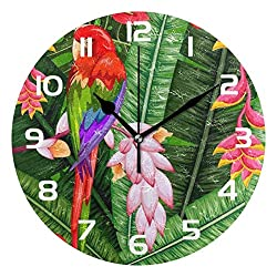 Dozili Palm Leaves Tropical Parrot Decorative Wooden Round Wall Clock Arabic Numerals Design Non Ticking Wall Clock Large for Bedrooms, Living Room, Bathroom