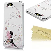 Google Nexus 6P Case - Mavis's Diary® 3D Handmade Bling Crystal Shiny Sparkle Rhinestone Diamonds Pink Butterfly Fariy Pattern Cover for Huawei Google Nexus 6P (2015) with Soft Clean Cloth