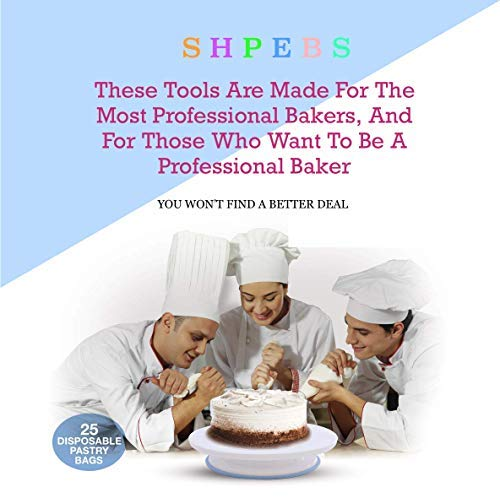Cake Decorating Supplies, cake decorating kit for Beginners, Baking Pastry Tools, Numbered Icing Tips with Pattern Chart… 2 🍪 EXQUISITE CAKE DECORATING SET & PASTRY MASTERPIECES! You don't need a white chef's jacket to create divine, decadent, and undeniably delectable cakes, cupcakes, cookies, and other delicious desserts & baked goods. Go all-out with this ultimate kitchen set! Perfect as a Gift for all ages 🍰 ALL-IN-ONE BAKING SET - Set Includes: | Nonslip Rotating Turntable Stand | 48 Piping Tips | 5 Russian tips | Smoother | Cake Pen |Cleaning Brush | Cake Cutter | Piping Bags | 2x Tip Coupler | Flower Lifter | 2x Flower Nails | 2x Spatula | 3x Cake Scrapers | 2x Silicone Piping Bags | 25x Disposable Pastry Bags | Icing Design Chart. 🍪 FUN FOR ALL AGES AND SKILL LEVELS - This all in one kit is great for beginners or experienced cake designers. You supply the ingredients and we supply all the tools you will need to inspire your creativity. If you enjoy baking decorating, the possibilities are endless with this complete set! All tools & accessories are 100% dishwasher safe.