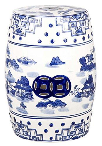 Safavieh Castle Gardens Collection Glazed Ceramic Blue Gateless Mist Chinoiserie Garden Stool