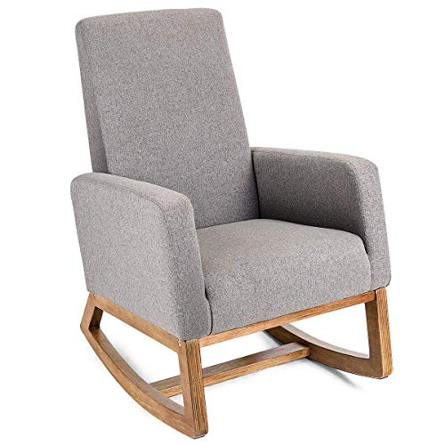 (Casart Rocking Chair Upholstered Modern High Back Armchair Comfortable Rocker Fabric Padded Seat Wood Base Gray)