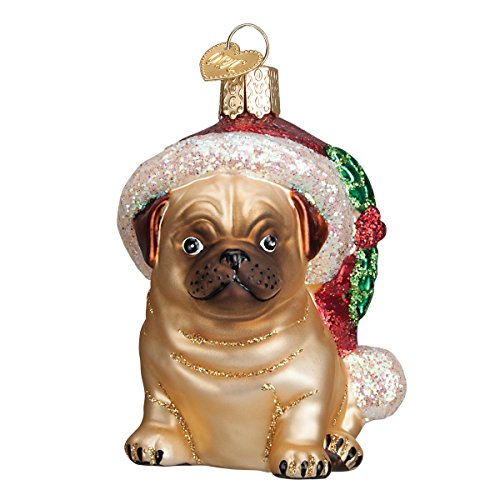 Old World Christmas Ornaments: Holly Hat Pug Glass Blown Ornaments for Christmas Tree (12430)