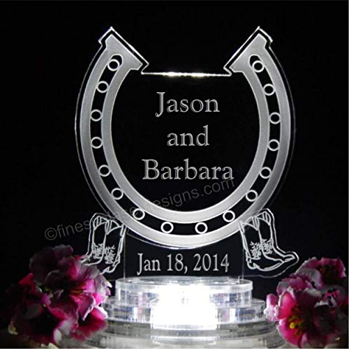 - Western Horseshoe Lighted Wedding Cake Topper w Names Acrylic Cake Top Personalized