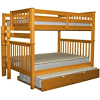 Bedz King Bunk Beds Full over Full Mission Style with End Ladder and a Twin Trundle, Honey
