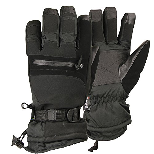 Men's 100g Thinsulate Lined Water Proof Premium Ski Glove (Black, Large)