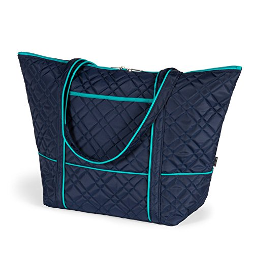 cinda b. Color Pop Super Tote, Navy/Turquoise, One - Tote Piggyback