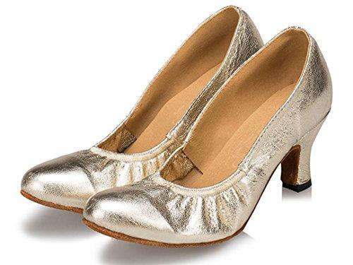 Tda Kvinners Slip-on Komfort Syntetisk Strikk Elastisk Salsa Tango Ballroom Latin Moderne Dansesko Gull