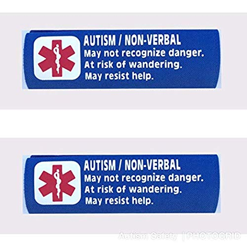 2 Pack Non-Verbal Autism Car Seat Harness Medical Alert Seat Belt Covers (Royal Blue)