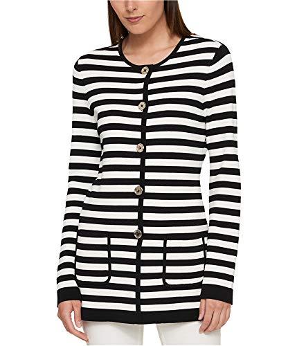 Tommy Hilfiger Womens Striped Cardigan Sweater, Black, Medium (Tommy Hilfiger Women Cardigan)