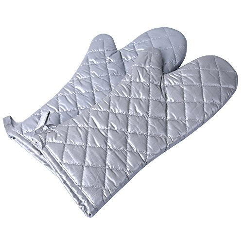Extra Long Professional Coated Silver Oven Mitt - Oven Mitts with Quilted Liner,Anti Hot, Heat Resistant to 500° F, Kitchen Oven Gloves for Cooking,Baking,Grilling,Barbecue Potholders- 1 Pair