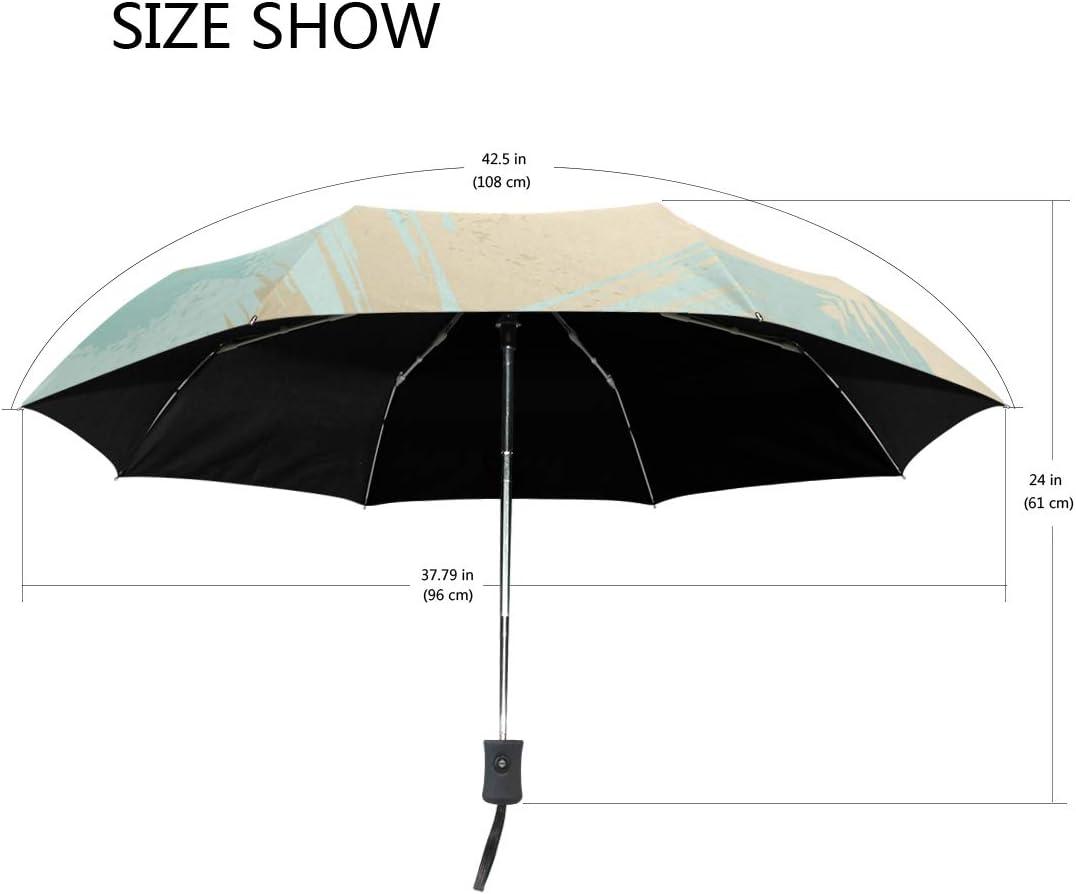 Rose Gold And Blud Leaf fashion print cute Windproof automatic tri-fold umbrella sun UV protection Sun umbrella