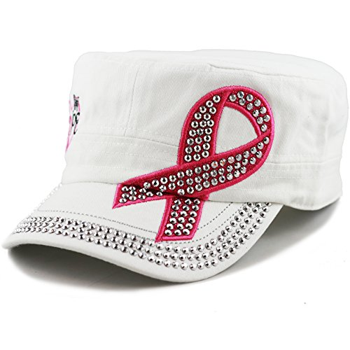 (THE HAT DEPOT Breast Cancer Pink Ribbon Cotton Cadet Cap Hat (White))