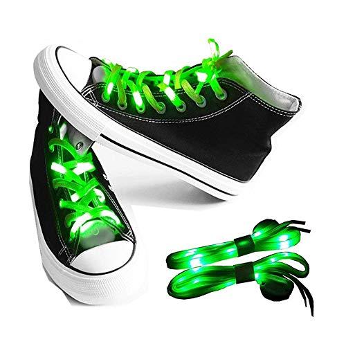 LKDEPO LED Shoelaces Light Up Nylon Shoe Laces with 3 Flashing Modes Lighting the Night - Green