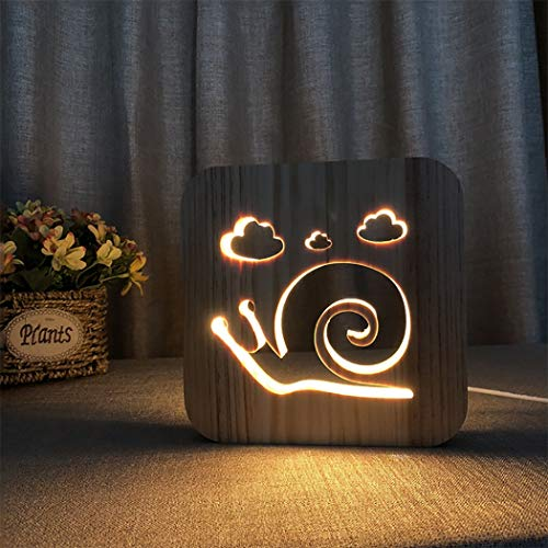 (LED Desk Lamp, 3D Wooden Table Lamp USB Charging Cartoon Snails Carved Night Light Bedroom Beside Decor Lamp, Gift for Kids Boys Girls)