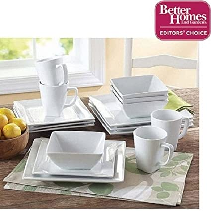 Better Homes And Gardens Soft Square Porcelain 16 Piece Dinnerware Set