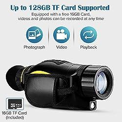 BOBLOV 4X35mm Night Vision Monocular 1080P Full HD Digital Infrared Illuminator Telescope Image Video Recording Playback with 16GB TF Card