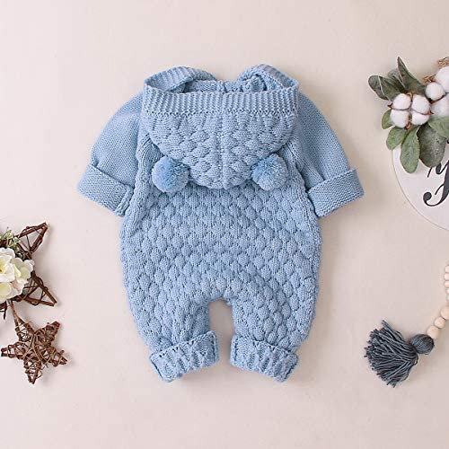 SANON Baby Newborn Ear Hooded Knitted Jumpsuit Toddler Overalls One-Piece Romper Snowsuit Bodysuit for Boy Girl