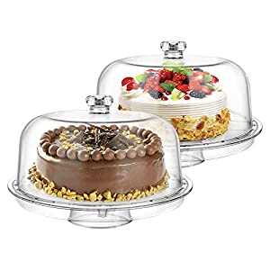 """Best Epic Trends 511IsM547AL._SS300_ Clear Acrylic 6-in-1 Cake Stand for Party Sweet Dessert Cake Plate with 12""""Dome Multi-Function Serving Platter, Salad…"""