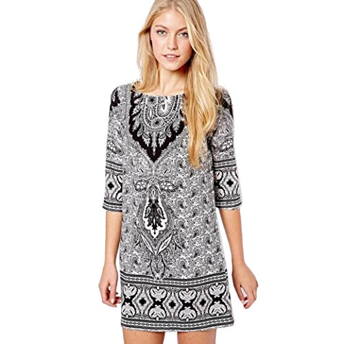 Totem Print Floral Mini Dress (White) - 2