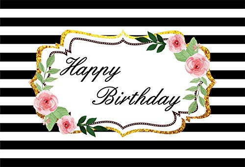 (AOFOTO 6x4ft Pink Flower Happy Birthday Backdrop Vinyl Floral Circled Black and White Striped Background for Photography Kids Adults Bday Party Decoration Banner Photo Studio Props)