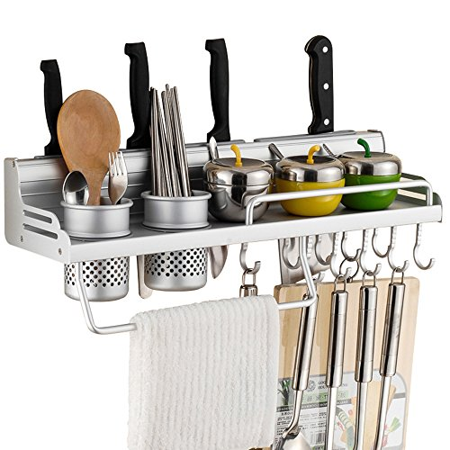 Wall Mounted Pot Pan Rack Multifunctional 6-in-1 Kitchen Bookshelf Storage Rack with Bottle Rack Silverware Caddy Cutlery Blocks Hanger Hooks Pot Organizers Space Aluminum (20inch 2Cups 8Hooks)