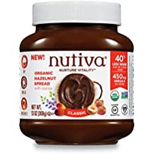Nutiva Certified Organic, non-GMO, Vegan Hazelnut Spread with Cocoa, Chia and Flaxseed, Classic Chocolate, 13 Ounces