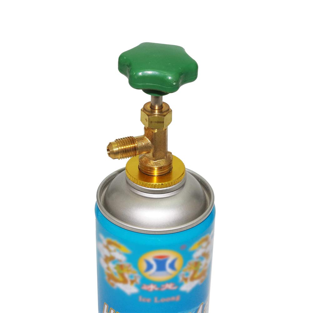 R12 R22 R600A Refrigerant Can Bottle Tap Opener Valve-Screw-On Tool 1/4 SAE Thread Adapter, Easily Connecting with Quick Coupler