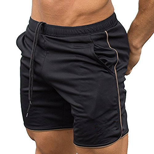 EVERWORTH Men's Gym Workout Boxing Shorts Running Short Pants Fitted Training Bodybuilding Jogger Short Black Gold L Tag XXL