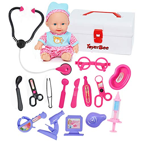 Doctor Kit for Kids with Doll&Doctor Playset Toy-16 Medical Tools Packed in a Sturdy Gift Case for Boys Girls Toddlers