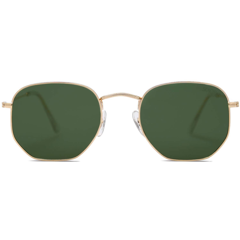 SOJOS Clásico Polígono Espejo Lentes UV Portección Unisex Gafas de Sol Polarizado SJ1072