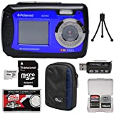 Polaroid iE090 Dual Screen Shock & Waterproof Digital Camera (Blue) 16GB Card + Case + Tripod + Reader + Kit