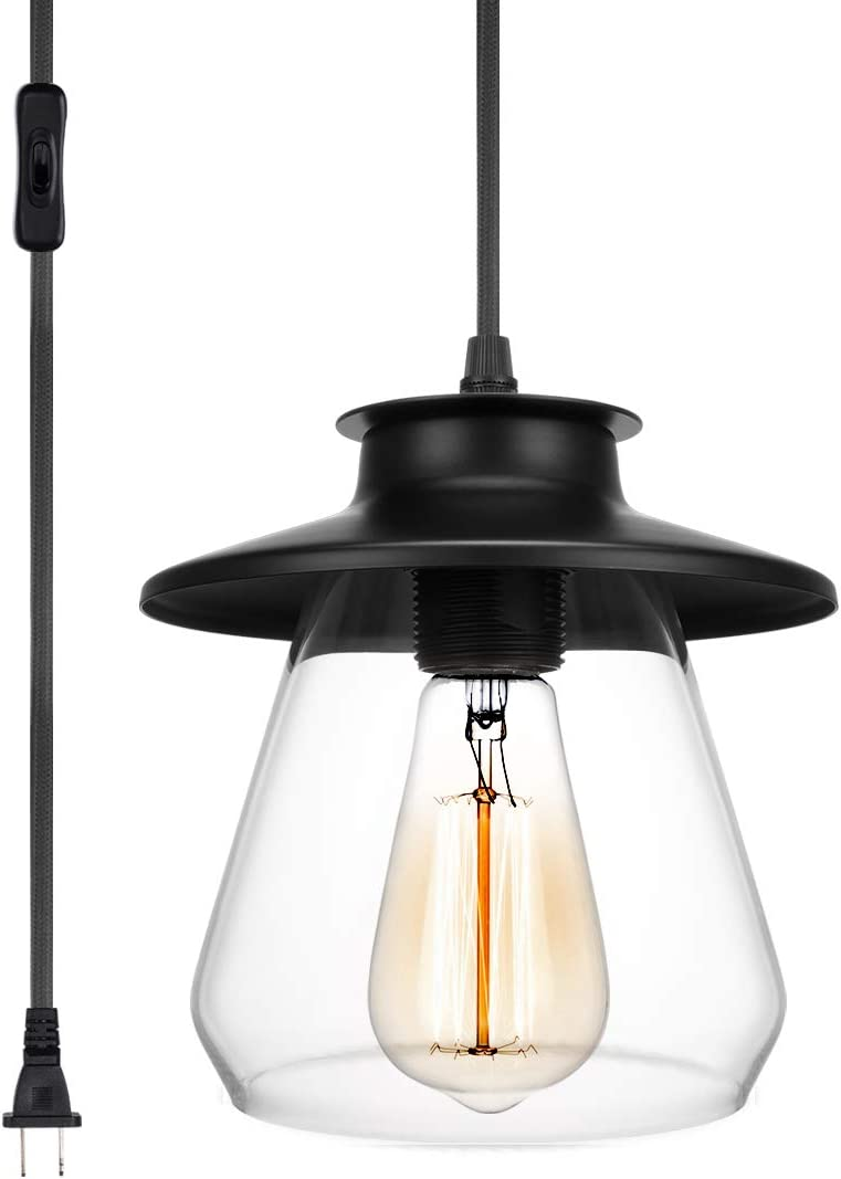Industrial Pendant Light with Plug in Cord,Black Hanging Lamp with Clear Glass Shade for Office Kitchen Island Dining Room 1 Light
