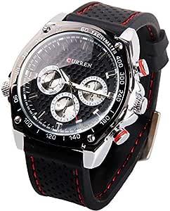 ساعة كورين 8146 للرجال كواترز بسوار مطاط مضادة للماء -اسود