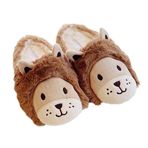 Miyang Warm Animal Slippers Para Mujer Antideslizante Lindos Zapatos De Interior Marrón