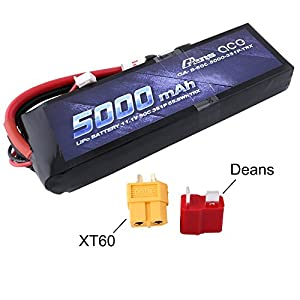 Gens ace 5000mAh 11.1V 3S 50C 3 Cell LiPo Battery Pack with XT60 and Deans Plug for Traxxas RC Cars Slash vxl Slash 4x4 vxl E-maxx Brushless Axial e-revo Brushless and Spartan Models