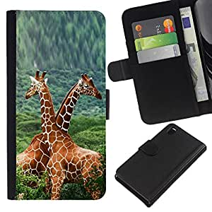 NEECELL GIFT forCITY // Billetera de cuero Caso Cubierta de protección Carcasa / Leather Wallet Case for Sony Xperia Z3 D6603 // Doble Jirafas