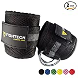 FIGHTECH Ankle Straps For Cable Machines: Fitness Cuff For Men & Women, Strong Brace with Thick Padding For Comfort & Stability Easily Adjustable Band - For Leg, Hip, Calf & Glute Exercises by (BLK)