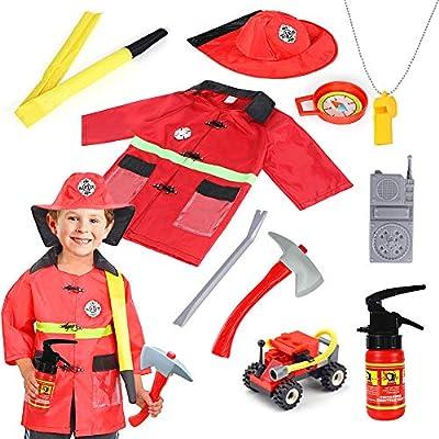 Kid Fireman Costume Firefighter Helmet Toy Boy Pretend Halloween Fancy Dress