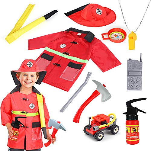 Kids Fire Chief Role Play Costume Fireman Dress Up Set Pretend Role Play Firefighter Toy for 3 4 5 6 7 8 Years Old Toddlers Boys Girls Red]()