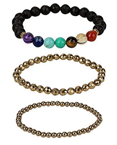 Chakras Seven The (SPUNKYsoul Chakra Crystal Lava Stone Beads Stretch Healing Balancing Bracelet for Women Jewelry Oil Diffuser Yoga Hematite Set Collection)