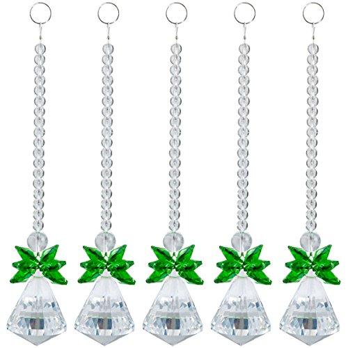 SUNYIK Green Crystal Guardian Angel Ornament Pendant Hanging,Christmas Decoration,Handcrafts Pack of 10