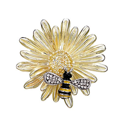 - Connie Cloris Sun Flower Enamel Crystal Honey Bee Insect Series Brooch Pin Accessories Her Women (Yellow)