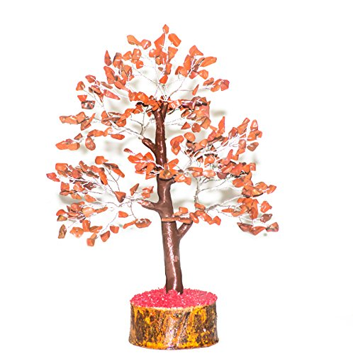 10 Jasper (Crocon Natural Healing Gemstone Crystal Bonsai Fortune Money Tree for Good Luck, Wealth & Prosperity Spiritual Gift Size 10-12 Inch (Red Jasper (Silver Wire)))